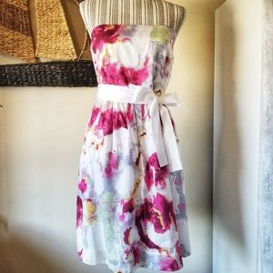 Banana Republic Watercolor Pink Strapless Dress